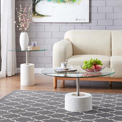 Sharon Minimalist Tables Glass Top with White Concrete Base