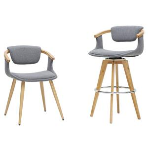 Darwin bamboo chairs and stools in gray with nail heads trimming