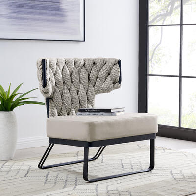 Leander KD Fabric/PU Accent Chair