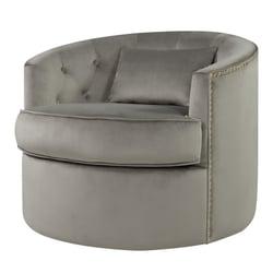Majorie Velvet Fabric w/ Nailhead Swivel Accent Chair, Light Gray