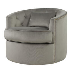 Majorie Velvet Fabric w/ Nailhead Swivel Accent Chair, Light Gray