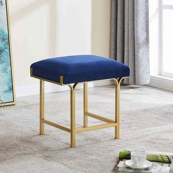 Kiky Velvet Fabric Ottoman, Serene Dark Blue/ Gold