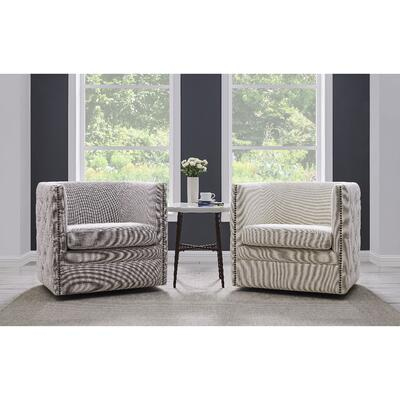 Leslie Fabric Swivel Tufted Chair