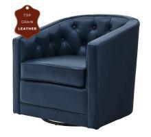 Walsh Top Grain Leather Swivel Chair, Garrett Blue *NEW*