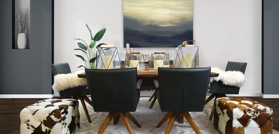 Navy and Brass Tone Dining Room
