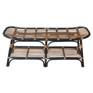 Damara Rattan Bench w/ Shelf