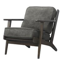 Albert Fabric Accent Chair Dark Brown Frame, Pewter Hide