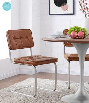 Bauer KD PU Tufted Chair Brushed Stainless Legs, Caramel