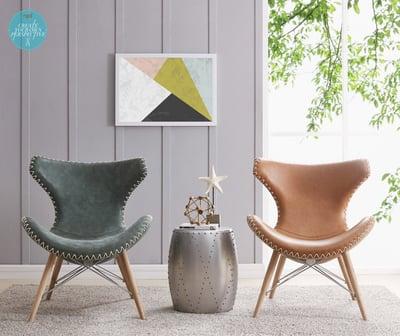 MId Century style saddle chairs with herringbone stitching