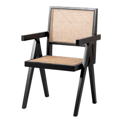 Bordeaux Rattan Dining Chair, Black/ Natural