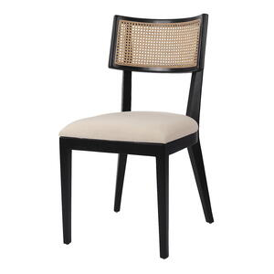 Virgo Rattan Dining Chair, Black/ Natural