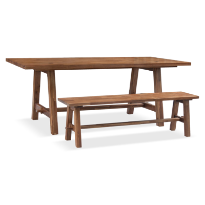 Bedford trestle base dining table and bench