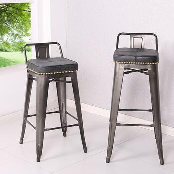 Metropolis Low Back Counter Stool, Vintage Mist Black
