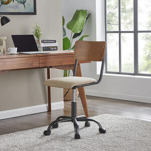 Kenneth KD Fabric Office Chair, Walnut/ Penta Linen