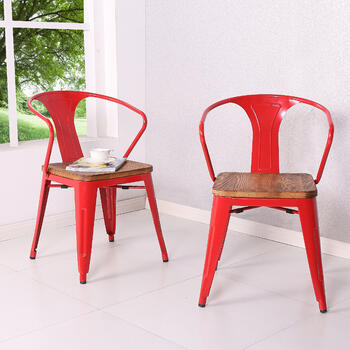 Metropolis Metal Arm Chair Wood Seat, Red