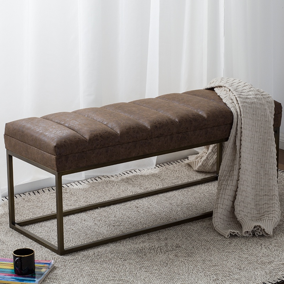 Darius Fabric Bench in Nubuck Chocolate -