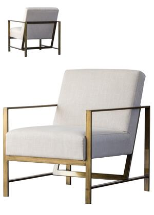 Francis Fabric Arm Chair in Shortbread with gold brush frame