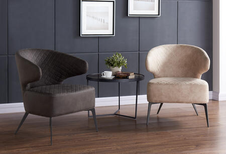 Bradley Modern Mid-Century Accent Chairs in Taupe and Brown