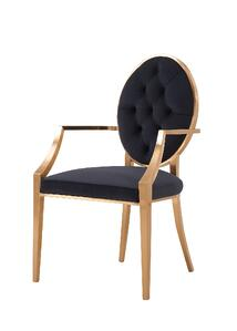 Tiara Fabric Tufted Arm Chair in Royal Black - NewPacificDirect-Building A654