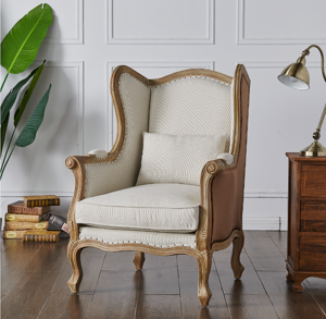 Guinevere Wing Arm Chair Brushed Smoke Frame, Cardiff Cream/Velvet Brown *NEW*