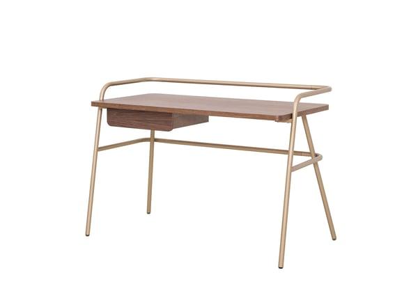 Zander KD Desk Champagne Gold Legs, Walnut - NewPacificDirect - Building A654-1