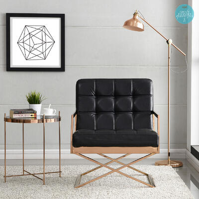 Hollywood Glam Black Faux Leather Chair in Rose Gold frame